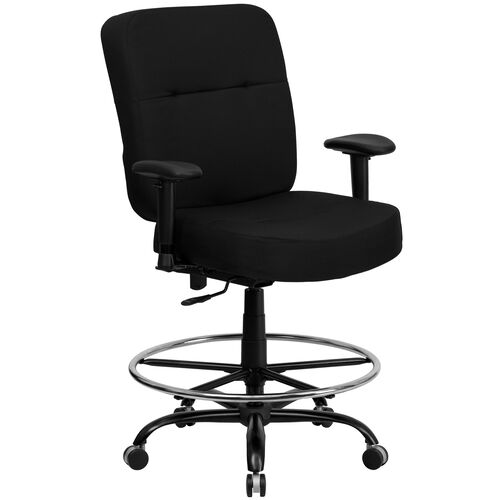 Our HERCULES Series Big & Tall 400 lb. Rated Black Fabric Rectangular Back Ergonomic Draft Chair with Adjustable Arms is on sale now.