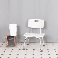 HERCULES Series Tool-Free and Quick Assembly, 300 Lb. Capacity, Adjustable White Bath & Shower Chair with U-Shaped Cutout