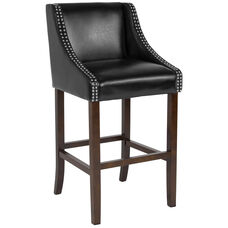 "Carmel Series 30"" High Transitional Walnut Barstool with Accent Nail Trim in Black Leather"