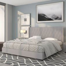 Riverdale King Size Tufted Upholstered Platform Bed in Light Gray Fabric