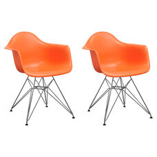 Paris Tower Arm Chair with Chrome Legs and Orange Seat - Set of 2