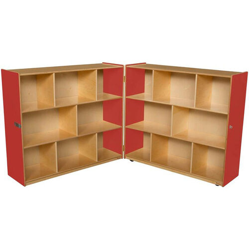 Our Wooden 16 Compartment Double Folding Mobile Storage Unit -Strawberry - 96