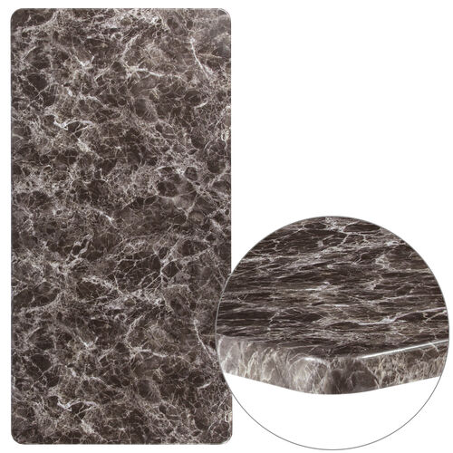 """Our 30"""" x 60"""" Rectangular Gray Marble Laminate Table Top is on sale now."""