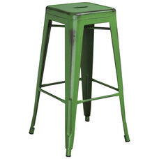 """Commercial Grade 30"""" High Backless Distressed Green Metal Indoor-Outdoor Barstool"""