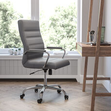 High Back Gray LeatherSoft Executive Swivel Office Chair with Chrome Frame and Arms