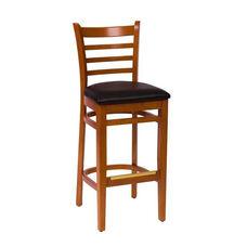 Burlington Cherry Wood Ladder Back Barstool - Vinyl Seat