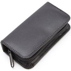 Deluxe Chrome Plated Mini Manicure Kit - Top Grain Nappa Leather - Black