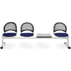 Moon 4-Beam Seating with 3 Navy Fabric Seats and 1 Table - Gray Nebula Finish