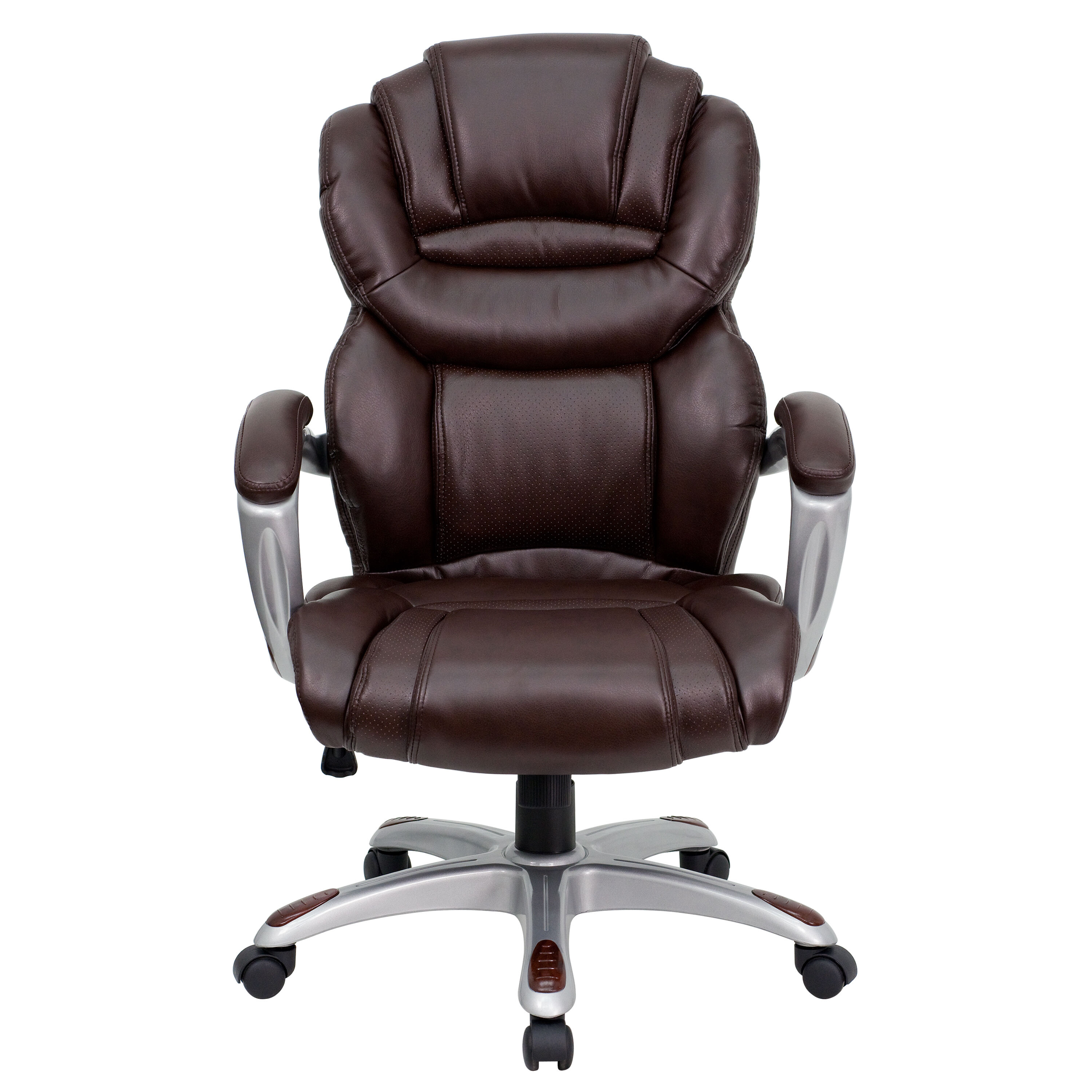 Our High Back Brown Leather Executive Swivel Chair With Arms Is On Sale Now.