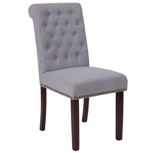 Our HERCULES Series Light Gray Fabric Parsons Chair with Rolled Back, Accent Nail Trim and Walnut Finish is on sale now.