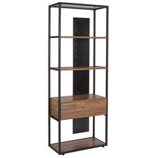 "Cumberland Collection 4 Shelf 65.75""H Bookcase with Drawer in Rustic Wood Grain Finish"
