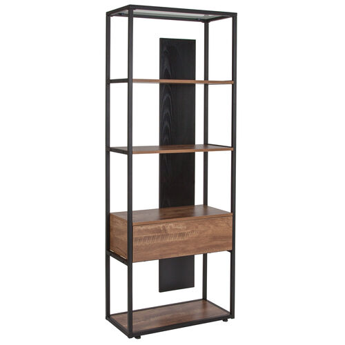 """Our Cumberland Collection 4 Shelf 65.75""""H Bookcase with Drawer in Rustic Wood Grain Finish is on sale now."""