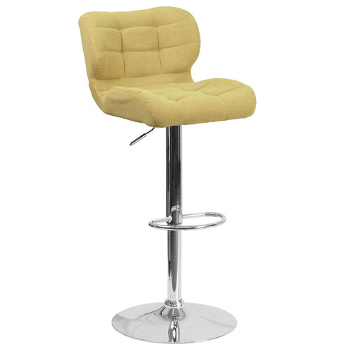 Our Contemporary Tufted Citron Fabric Adjustable Height Barstool with Chrome Base is on sale now.