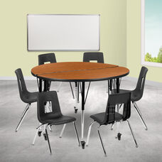 """Mobile 47.5"""" Circle Wave Collaborative Laminate Activity Table Set with 16"""" Student Stack Chairs, Oak/Black"""