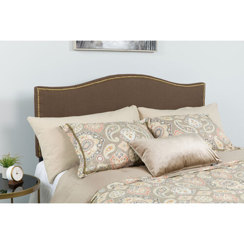 Our Lexington Upholstered Full Size Headboard with Accent Nail Trim in Dark Brown Fabric is on sale now.