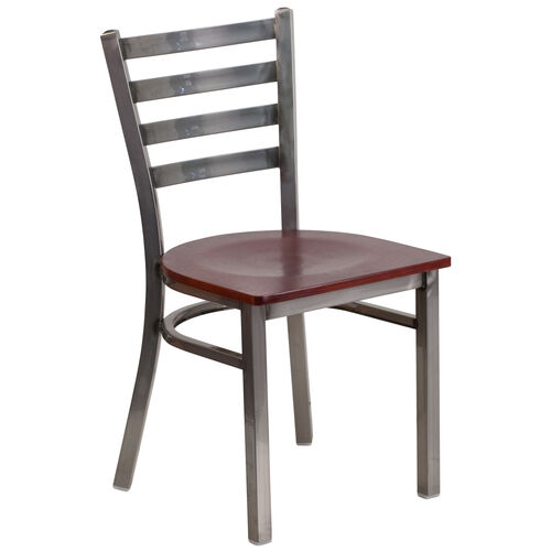 Our Clear Coated Ladder Back Metal Restaurant Chair with Mahogany Wood Seat is on sale now.