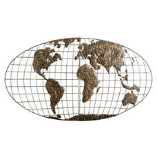 Iron World Map 3D Gold Brushed Finish Metal Oval Globe 46