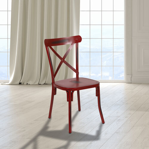 Our Rustic Distressed Metal Cross Back Chair (Red) is on sale now.