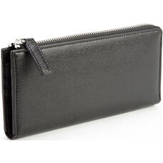 RFID Blocking Fan Wallet - Saffiano Genuine Leather - Black
