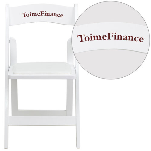 Our Personalized HERCULES Series White Wood Folding Chair with Vinyl Padded Seat is on sale now.