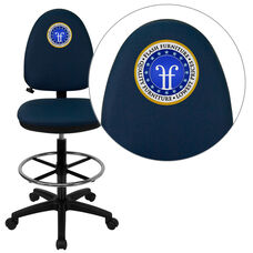 Embroidered Mid-Back Navy Blue Fabric Multifunction Ergonomic Drafting Chair with Adjustable Lumbar Support