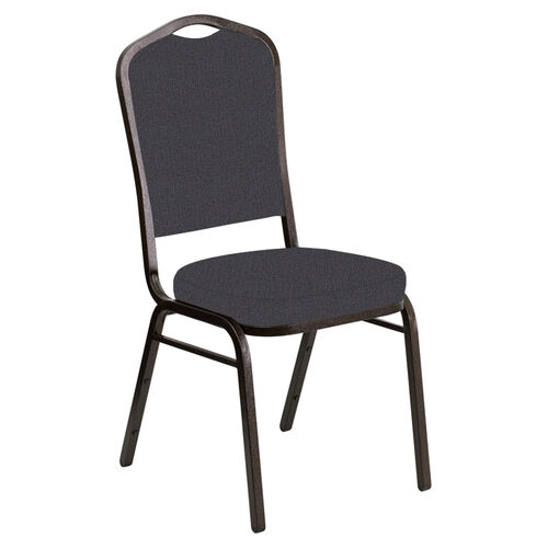 Embroidered Crown Back Banquet Chair in Cobblestone Sky Fabric - Gold Vein Frame