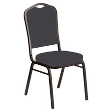 Crown Back Banquet Chair in Cobblestone Sky Fabric - Gold Vein Frame