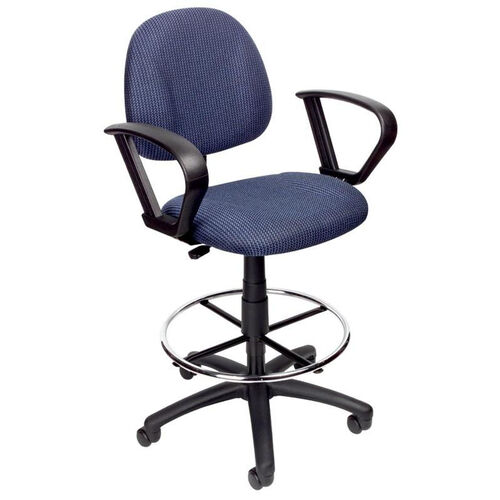 Our Contoured Back Drafting Stool with Foot Ring and Loop Arms - Blue is on sale now.