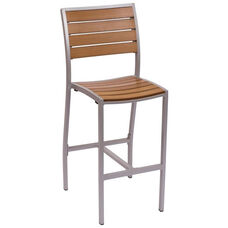 Largo Side Barstool - Synthetic Teak Seat & Back and Silver Frame