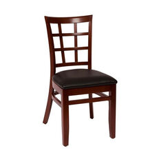 Pennington Mahogany Wood Window Pane Chair - Vinyl Seat