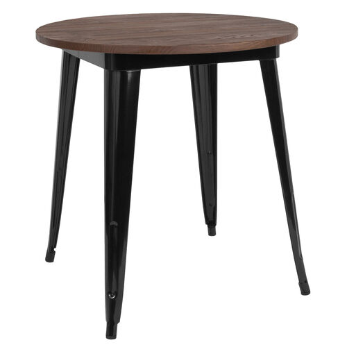 """Our 26"""" Round Black Metal Indoor Table with Walnut Rustic Wood Top is on sale now."""