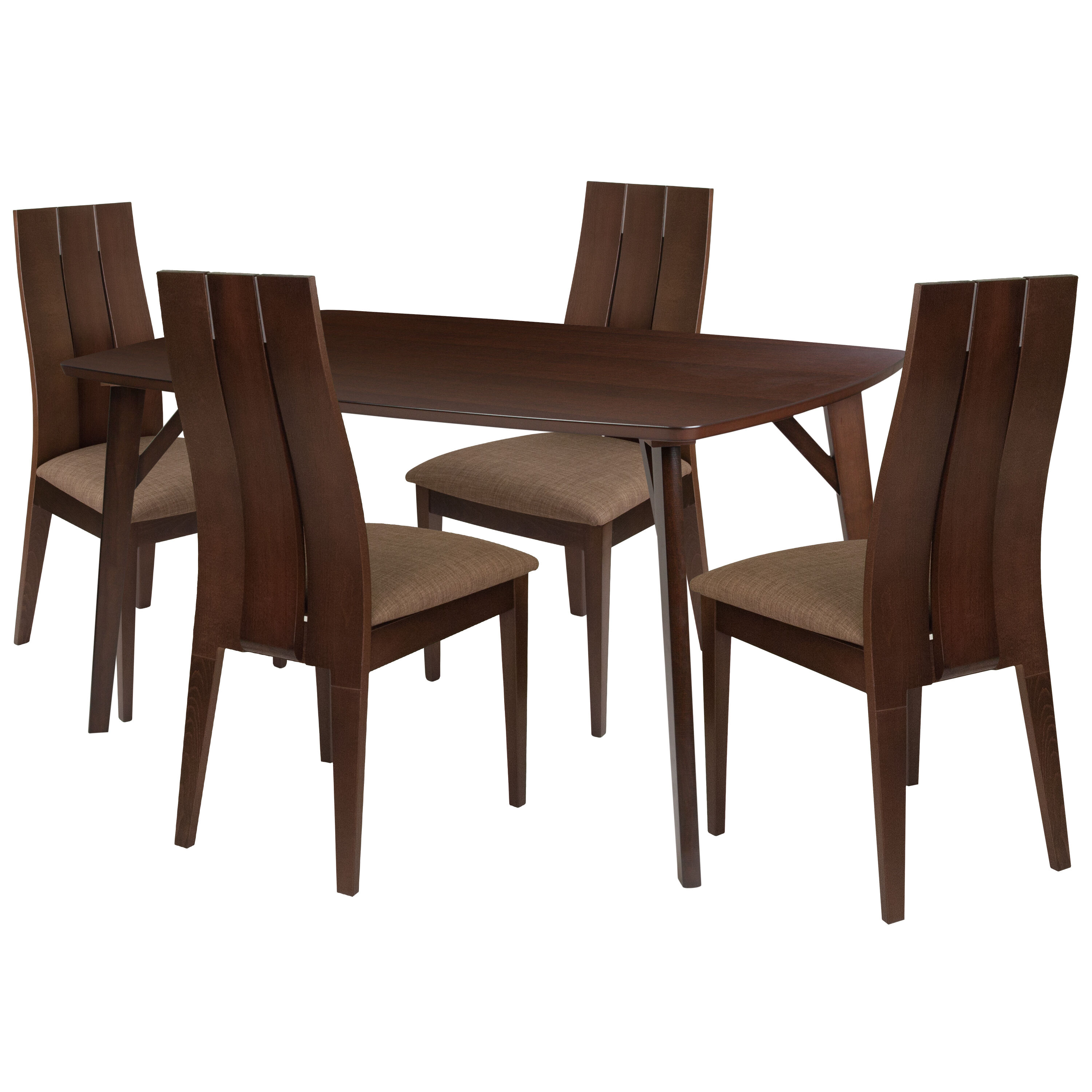 ... Our Dearborn 5 Piece Espresso Wood Dining Table Set With Wide Slat Back  Wood Dining Chairs