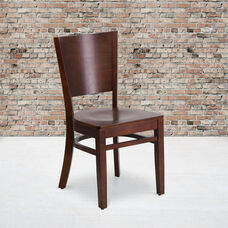 Walnut Finished Solid Back Wooden Restaurant Chair