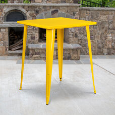 """Commercial Grade 31.5"""" Square Yellow Metal Indoor-Outdoor Bar Height Table"""