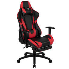 BlackArc X30 Gaming Chair Racing Office Ergonomic Computer Chair with Fully Reclining Back and Slide-Out Footrest in Red LeatherSoft