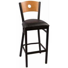 Circle Series Wood Back Armless Barstool with Steel Frame and Vinyl Seat - Natural