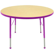 Adjustable Standard Height Laminate Top Round Activity Table - Maple Top with Purple Edge and Legs - 60