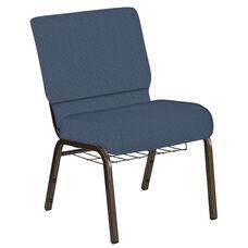 21''W Church Chair in Bonaire Blue Ridge Fabric with Book Rack - Gold Vein Frame
