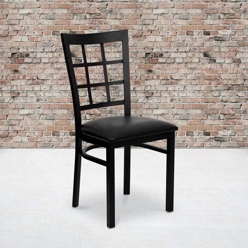 Black Window Back Metal Restaurant Chair
