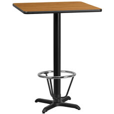 30'' Square Natural Laminate Table Top with 22'' x 22'' Bar Height Table Base and Foot Ring