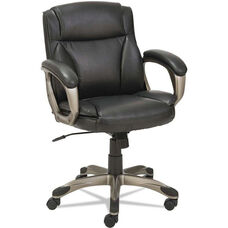 Alera® Veon Series Low-Back Leather Task Chair with Coil Spring Cushioning - Black