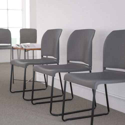 HERCULES Series 880 lb. Capacity Gray Full Back Contoured Stack Chair with Black Powder Coated Sled Base