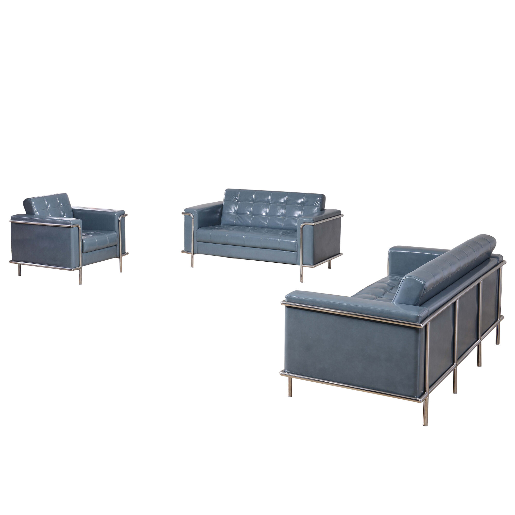 HERCULES Lesley Series Reception Set in Gray LeatherSoft with Free Tables
