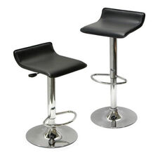 Spectrum Airlift Stool with Black Faux Leather Seat-Set of 2