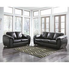 Benchcraft Fezzman Living Room Set in Black Leather