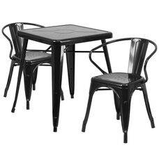 """Commercial Grade 23.75"""" Square Black Metal Indoor-Outdoor Table Set with 2 Arm Chairs"""
