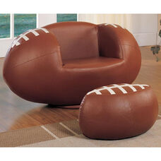 All Star 2 Piece 360° Swivel Football Youth Chair and Ottoman