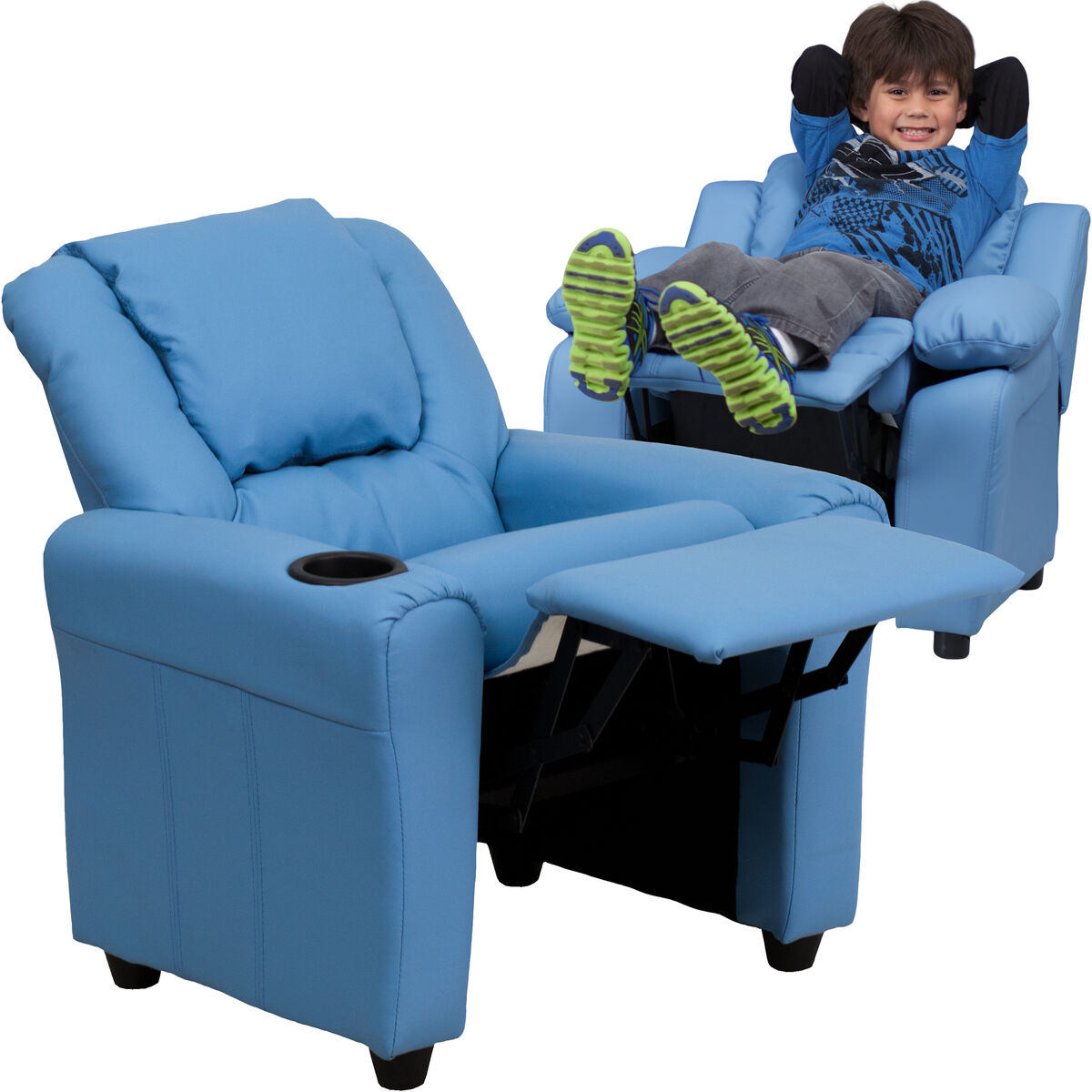 Flash furniture contemporary light blue vinyl kids for Kids recliner chair