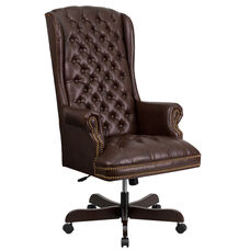High Back Traditional Tufted Brown Leather Executive Swivel Chair with Arms