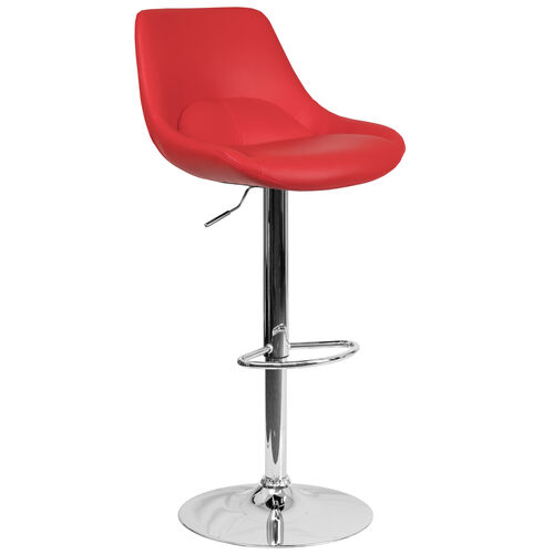 Our Contemporary Red Vinyl Adjustable Height Barstool with Chrome Base is on sale now.